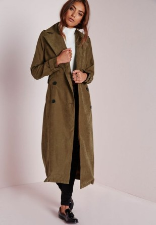 trench-femme-Missguided-long-vert-olive